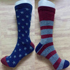 custom half terry USA logo crew sock in red grey blue color