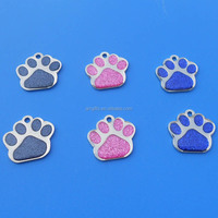 27mm metal dog cat paw shape ID logo engraved bling glitter dog tag pet id tag