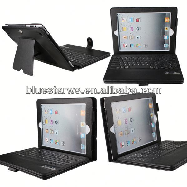 In stock with cheap price Bluetooth Keyboard Leather Case For Ipad 2 3 4 multi-function rotating leather case