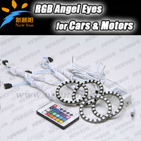 75mm LED 5050 RGB Car Angel Eyes Light Headlight Halo Ring with a Remote Control, 12v led auto angel eye rgb led ring for car