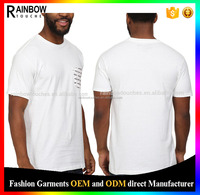 China Market Short Sleeve Chest Pocket High Quality White T-shirts Clothing
