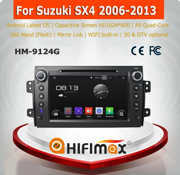 HIFIMAX 8'' Android 5.1 high definition 1024*600 16GB Quad-core car dvd gps car stereo for suzuki sx4