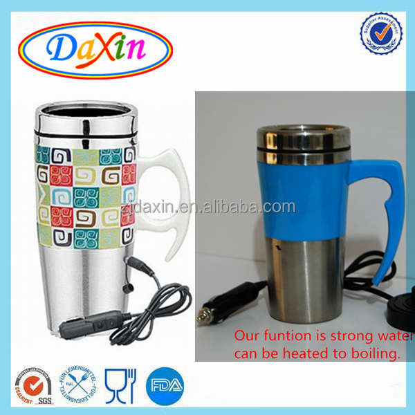 wholesales 12V stainless steel electric hot travel mug with USB with design