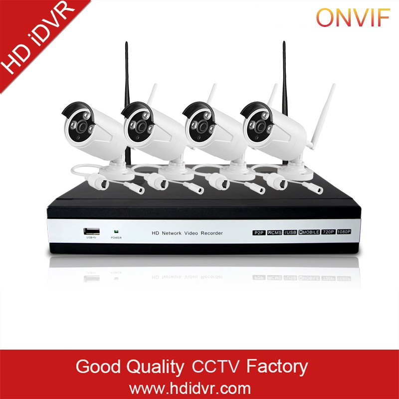 HD iDVR Wifi Ip Outdoor Camera Cctv Nvr Security Systems Wireless 4ch Nvr Kit 1080p Ip Camera H.264 Nvr