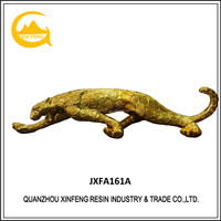 Resin golden leopard life size animal statues for home decoration