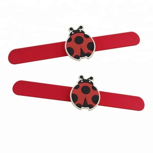 Advertising Silicone Slap bracelet Band With Ladybug Charms
