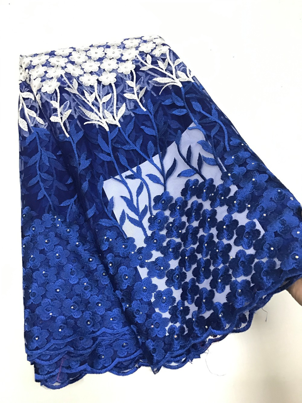 For big wedding party tulle lace with stones voile lace fabric nigerian