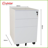 Office furniture 3 drawer vertical metal movable A4 filing cabinet