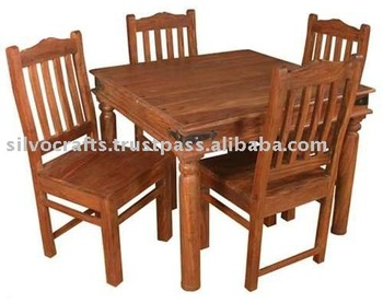 Indian Jodhpur Rajasthan Solid Sheesham Wood Dining sets with Dining Tables & Dining Chairs for Home & Restaurant Furniture