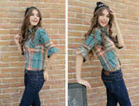 New style women clothing plaid pattern ladies fashion cotton checked shirts designs