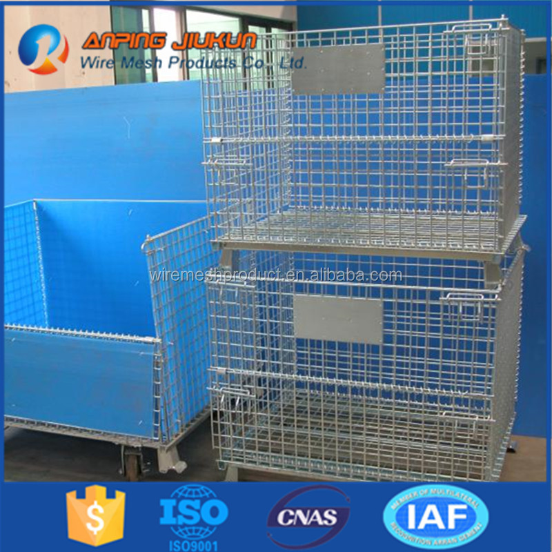 Folding metal storage cage with wheels