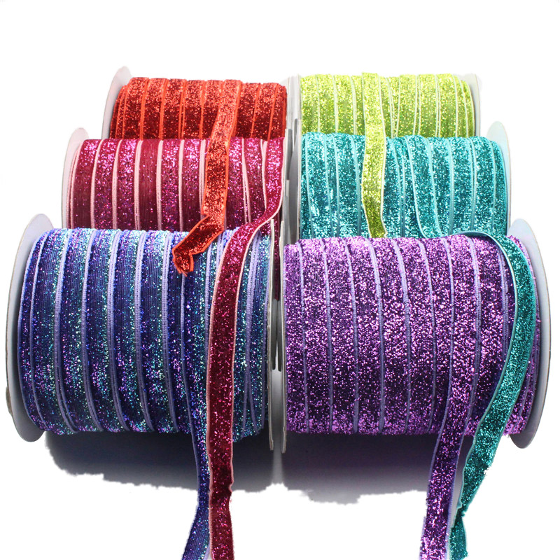 Custom 1 Inch Stretch Glitter Elastic Metallic Velvet Ribbons