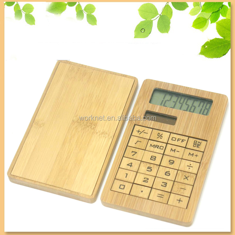 Hot selling innovative new gift item 8 digital wood bamboo calculator 24 keys, portable bamboo calculator