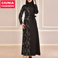 6168# Islamic clothing wholesale modest women fashion beautiful ladies fancy prom sequin evening gown abaya muslim dresses