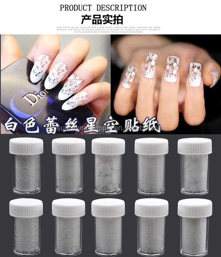New lace styles black and white sky paper nail transfer foil sticker for nail art decoration
