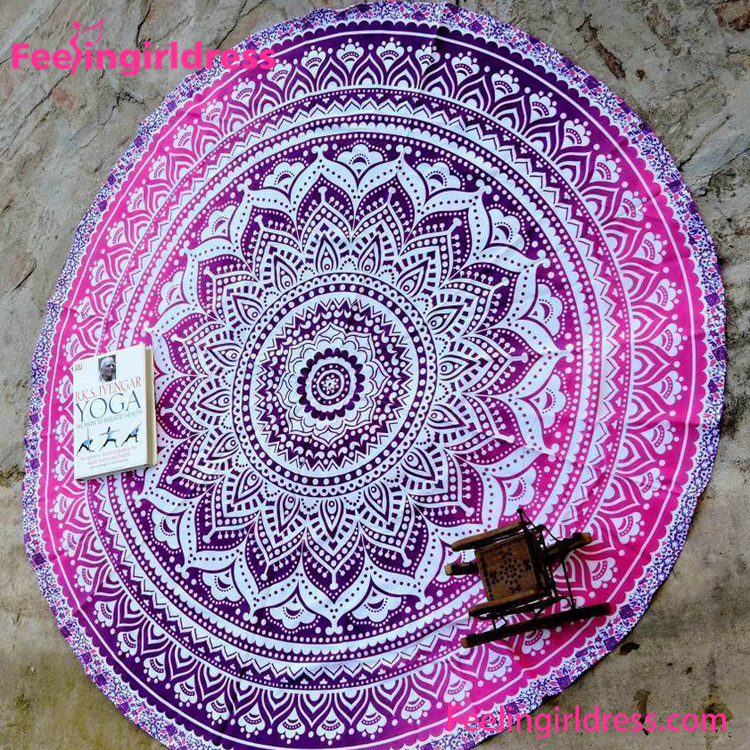 Wholesale custom big table throw mandala round beach <strong>towel</strong>