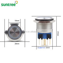 stainless steel 22mm metal waterproof ring illuminated push button switches