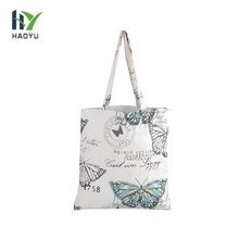 Wholesale printed reusable cotton shopping zipper bag with logo