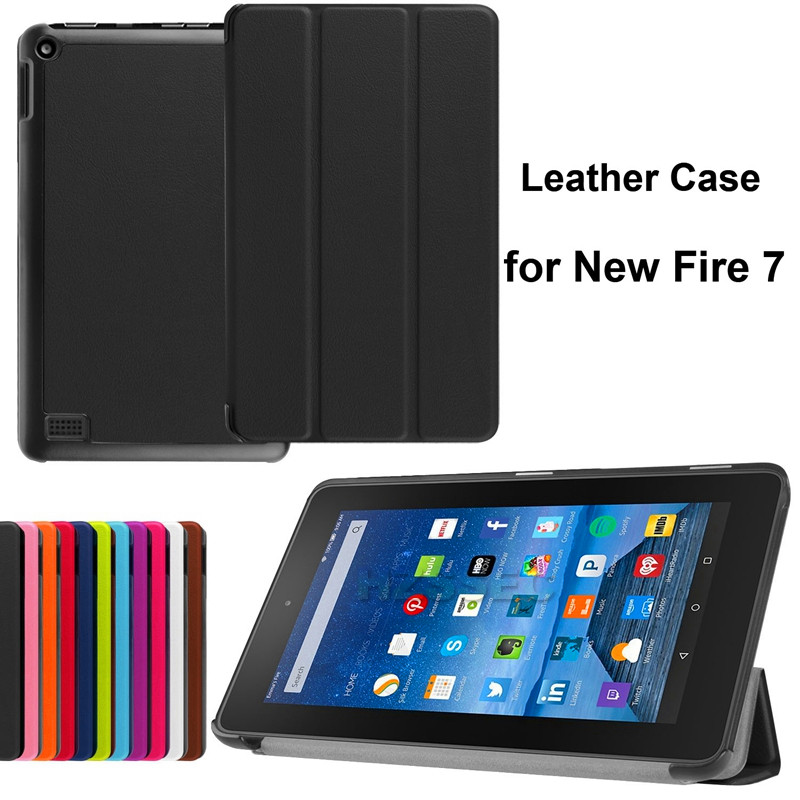 Lightweight Stand Cover Standable Flip Tablet Leather Case For Amazon Kindle Fire Hd 7 Tablet Case 7 Inch (Black)