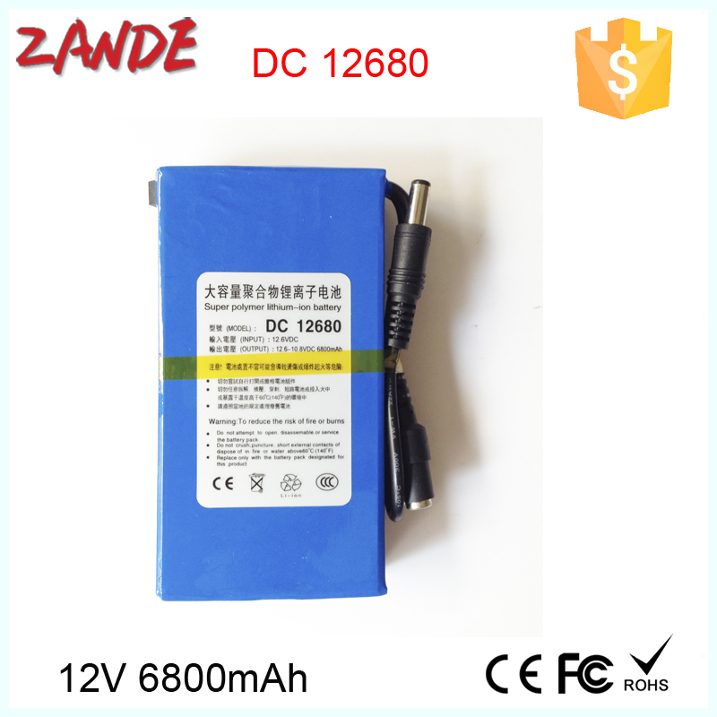 Portable rechargeable DC output DC-12680 12V 6800mAh rechargeable Li-ion lithium-ion batteries for sale