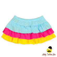 YZA-017 Yiwu Yihong Wholesale Ruffle ranbow top and bloomer two pcs set with hat modest swimwear rubber swimsuit
