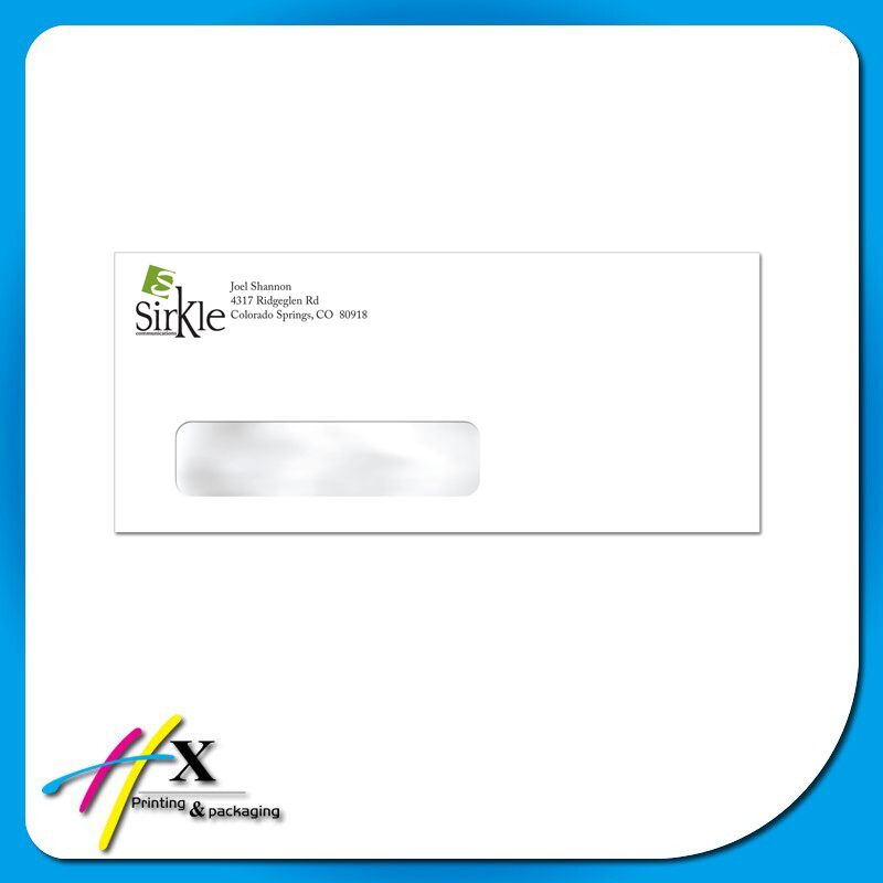 Window paper envelope with company information