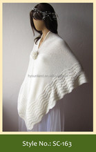 SC-163 hand knitted white shawl for bride