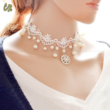 Flower Lace Pearl Pendant Wedding Gothic Choker Chunky Collar Womens Necklace