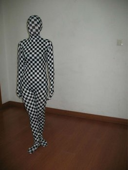 black and white check lycra full body suit