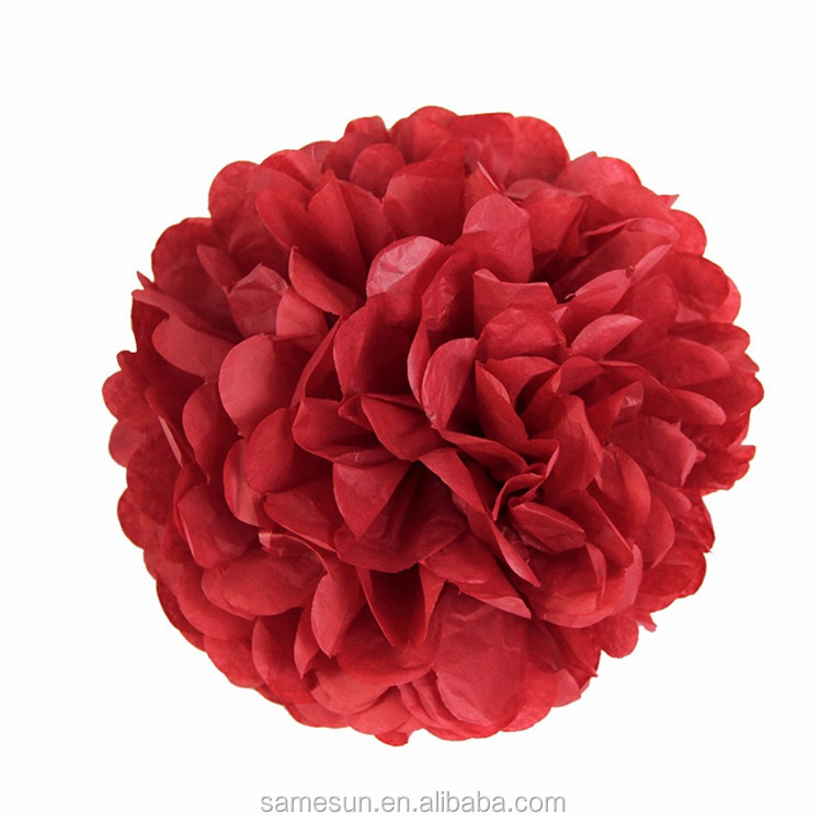 Honeycomb Paper Ball Tissue Paper Pom Poms Christmas Decoration Set