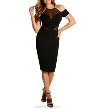 Sexy Sweet Heart Neck Halter Black warp party Dress Mesh Insert cool shoulder Bodycon Pencil dress