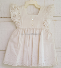 Eyelet Cotton Sunny Flutter Sleeve Children Vintage Fashion Design Small Girls Pinafore Dress