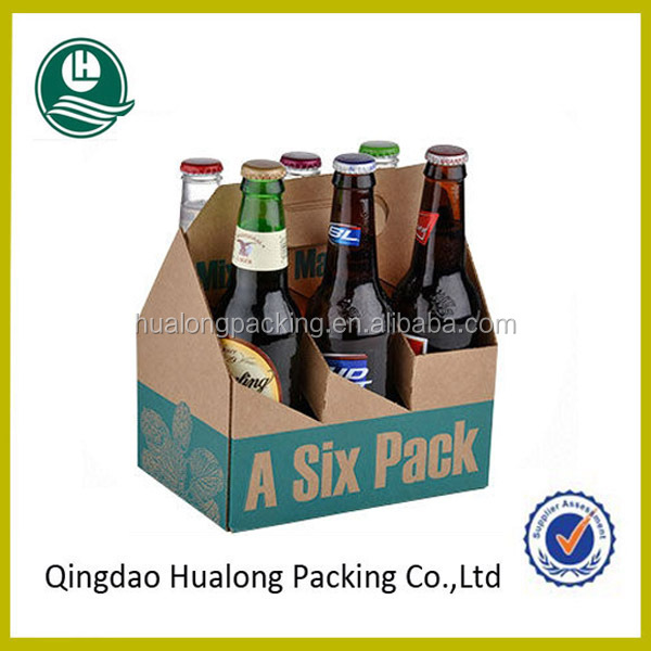Custom printed cardboard 6 pack bottle beer carriers