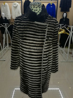 New Design winter Women Striped luxury colorful Mosaic mink Fur coat