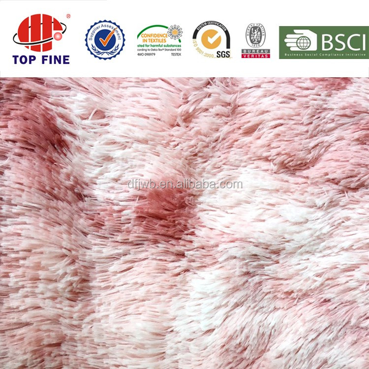 150d 45mm pile 100% polyester deer printed tie-dye red pv plush fleece fabric