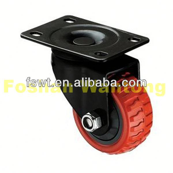 Red Polyurethane Industrial Rotating adjustable bed casters With Black Frame