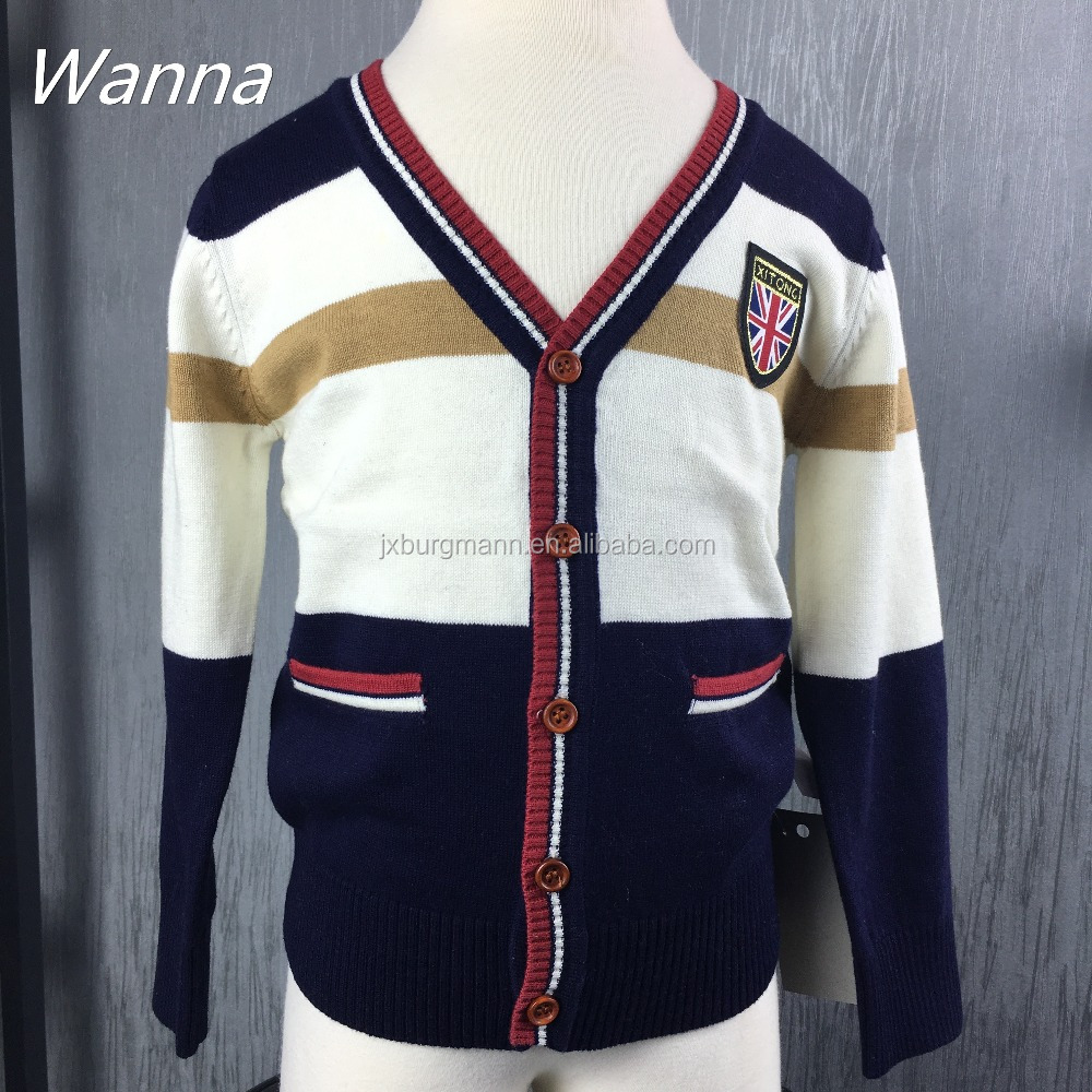 Children age group winter lovely v neck cardigan sweater designs for kids sweater