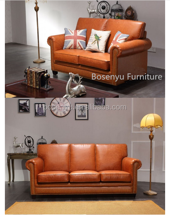 European royal style classical genuine leather sofa sets sectional livingroom furniture