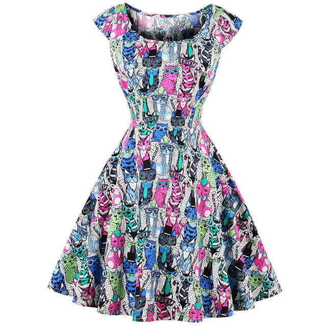 Super Vintage Off The <strong>Shoulder</strong> Plus Size S-4XL Cat Print Fashion Style Elegant Colorful Summer Short Sleeves Cute O-Neck Dresses