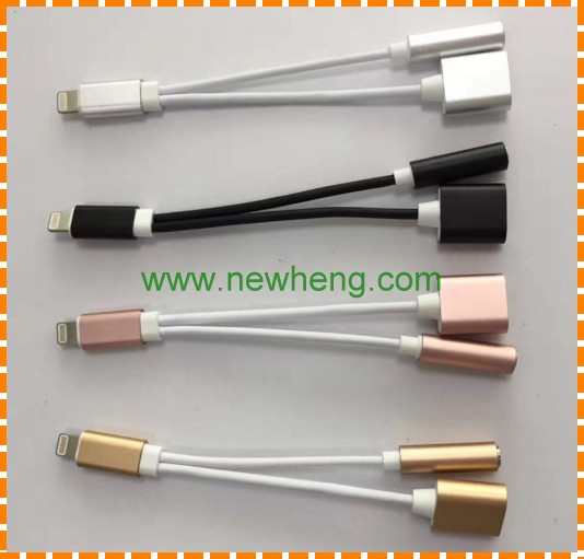 2 in 1 3.5mm Headphone Charging Audio Adapter For iPhone 7