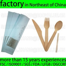 Biodegradable Prepacked Wooden Disposable Cutlery Kit