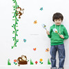 Monkey tree growth chart wall stickers decal decoration kids baby nursery paper Cartoon kids room decor decals