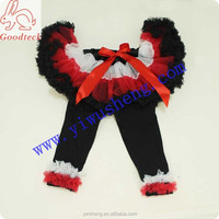Cheap kid outfit set, Fluffy girl pettiskirt & black legging with ruffle,