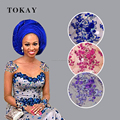 Tokay new fashion african lace fabrics 3d flower lace for aso ebi dress