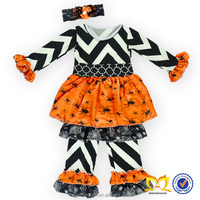 2015 Halloween Boutique Dress Ruffle Leggings Chevron Kids Layered Pants Clothing Sets Long Sleeves Ruffle Tunics Clothing Bulk