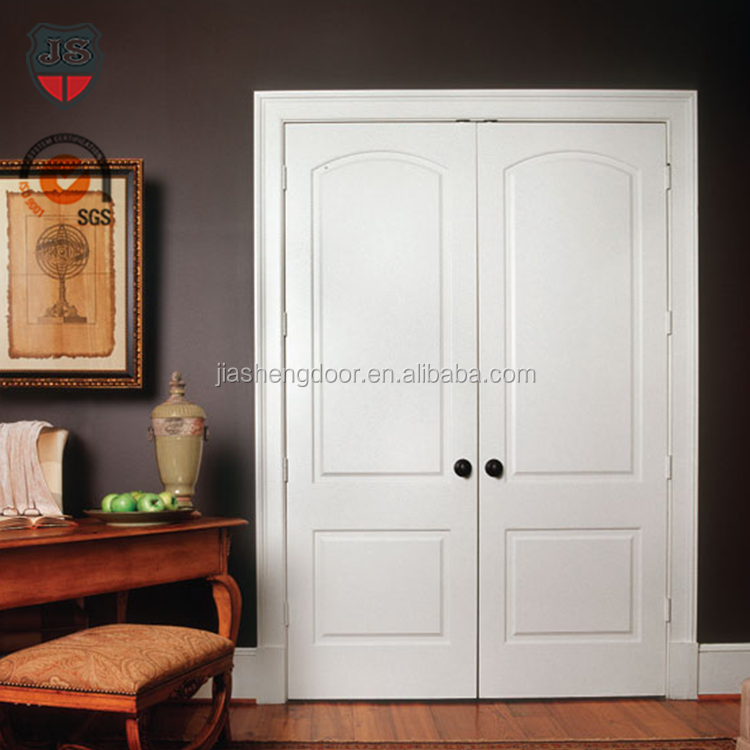 modern design white primed solid double swing interior wood doors