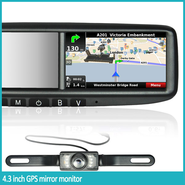 4.3 INCH Car GPS & Navigation Rearview Mirror with car camera parking sensor
