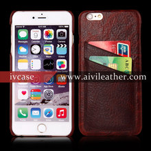 Stylish Genuine Leather Card Slots Back Cover Dot View Case For Iphone 6