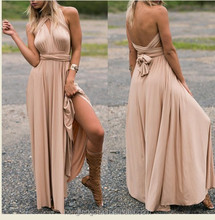 2017 Sexy Split Open Back Long Prom Dresses 2017 A-Line O-Neck Chiffon Pink Formal Dress Party Gown