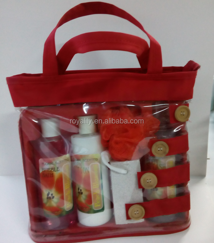 pvc bag bath gift sets for Christmas Valentine's Day,Mother's day with pumice,sponge